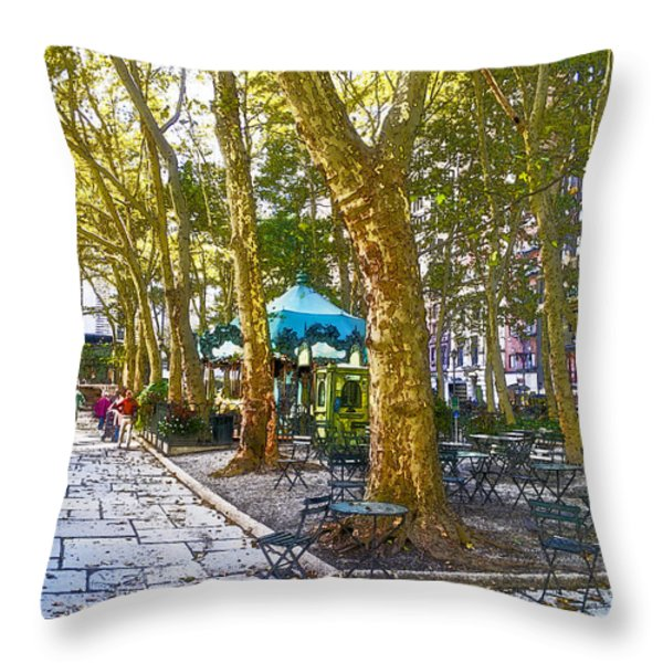 Bryant Park October Throw Pillow by Liz Leyden