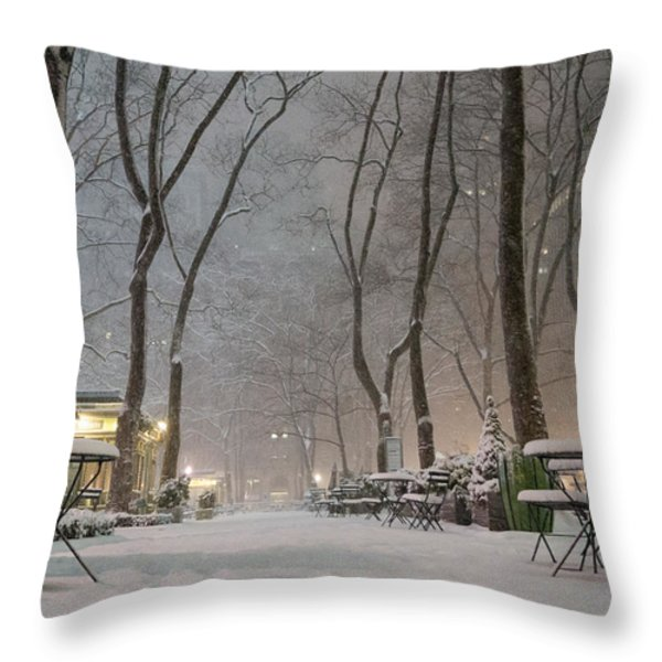 Bryant Park - Winter Snow Wonderland - Throw Pillow by Vivienne Gucwa