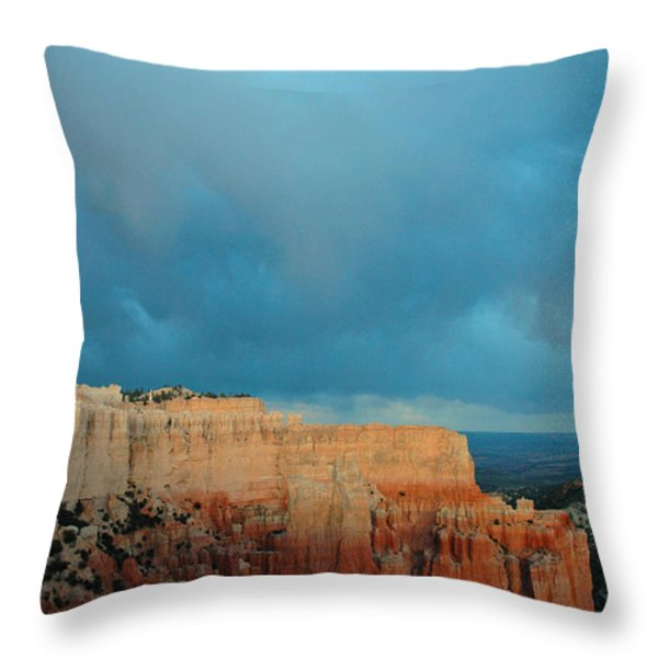 Bryce Canyon And Stormy Sky Throw Pillow by Bruce Gourley