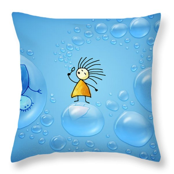 Bubble Folks Throw Pillow by Gianfranco Weiss