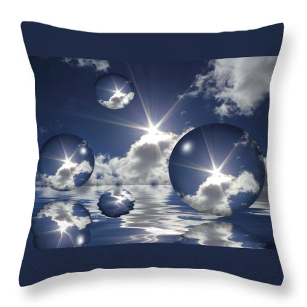Bubbles In The Sun Throw Pillow by Shane Bechler