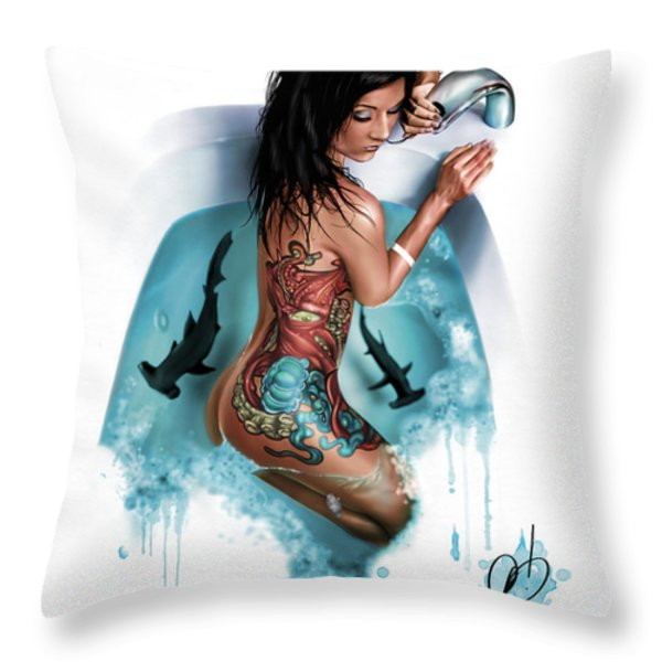 Bubbles Throw Pillow by Pete Tapang
