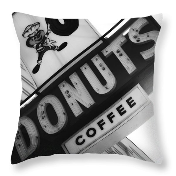 Buckeye Donuts Throw Pillow by Rachel Barrett