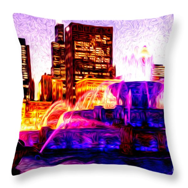 Buckingham Fountain at Night Digital Painting Throw Pillow by Paul Velgos