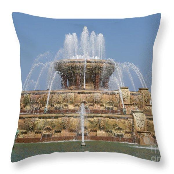 Buckingham Fountain - Chicago Throw Pillow by Ann Horn