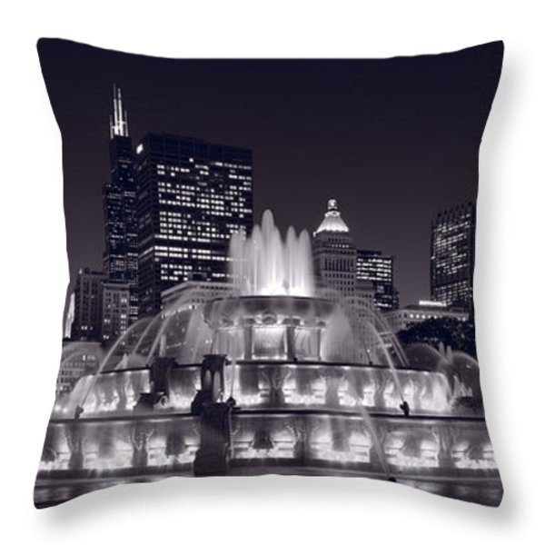 Buckingham Fountain Panorama Throw Pillow by Steve Gadomski