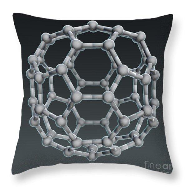 Buckminsterfullerene Molecular Model Throw Pillow by Evan Oto