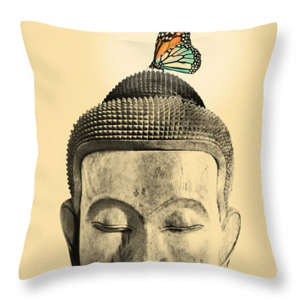 Buddha And Tranquility Throw Pillow by Budi Satria Kwan