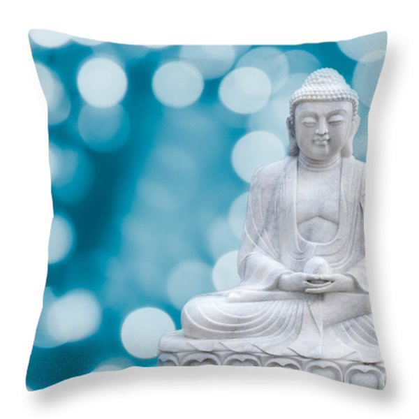 Buddha Enlightenment Blue Throw Pillow by Hannes Cmarits