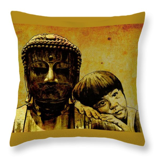 buddha girl Throw Pillow by Richard Tito