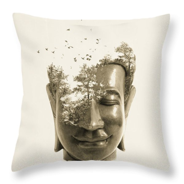 Buddha non attachment Throw Pillow by Budi Kwan