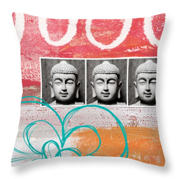 Buddha With Flower Throw Pillow by Linda Woods