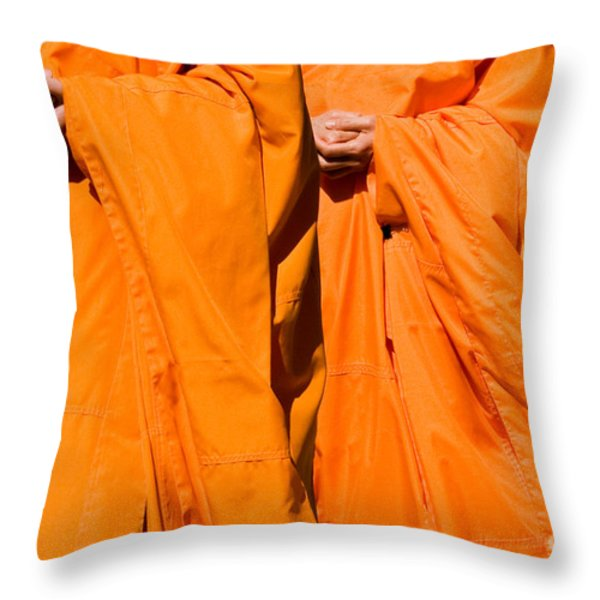 Buddhist Monks 02 Throw Pillow by Rick Piper Photography