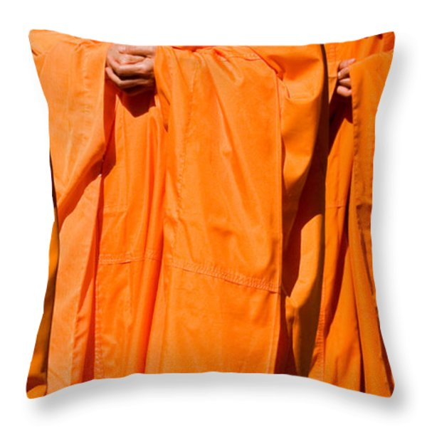 Buddhist Monks 03 Throw Pillow by Rick Piper Photography