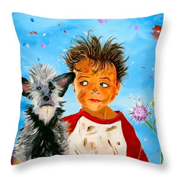 Buddies Throw Pillow by Phyllis Kaltenbach