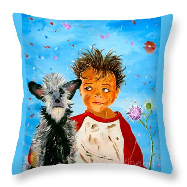 Buddies Throw Pillow by Phyllis Kaltenbach