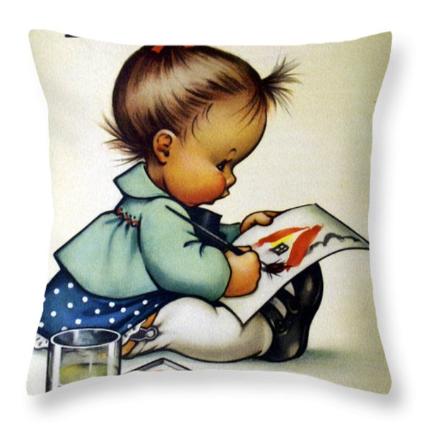 Budding Genius Throw Pillow by Charlotte Byj