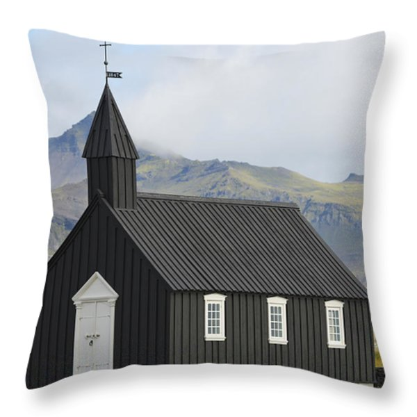 Budir Church Stadarsveit, Snaefellsnes Throw Pillow by Michael Thornton