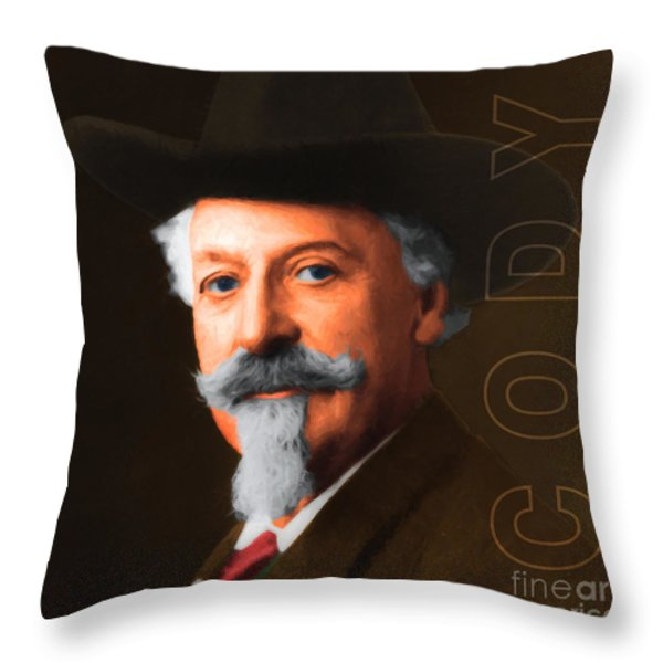 Buffalo Bill Cody 20130516 square with text Throw Pillow by Wingsdomain Art and Photography