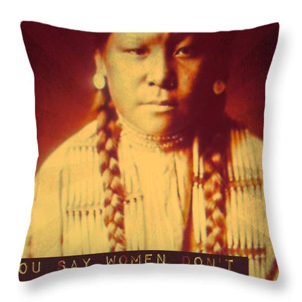 Buffalo Calf Road Woman Throw Pillow by Michelle Dallocchio