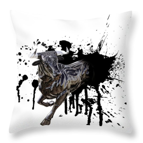 BULL BREAKOUT Throw Pillow by Daniel Hagerman
