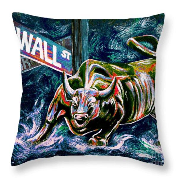 Bull Market Night Throw Pillow by Teshia Art