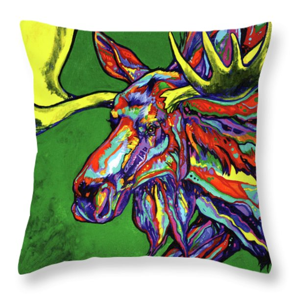 Bull Moose Throw Pillow by Derrick Higgins