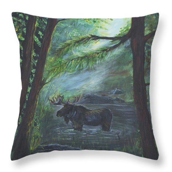 Bull Moose Pond Throw Pillow by Leslie Allen