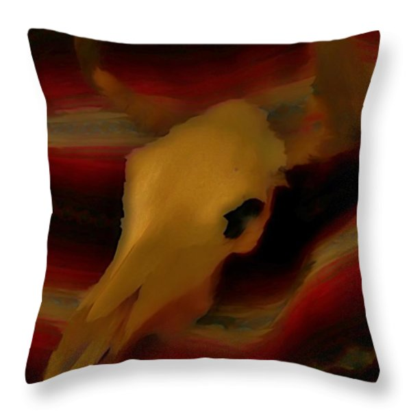 Bull Skull One Throw Pillow by John Mlaone