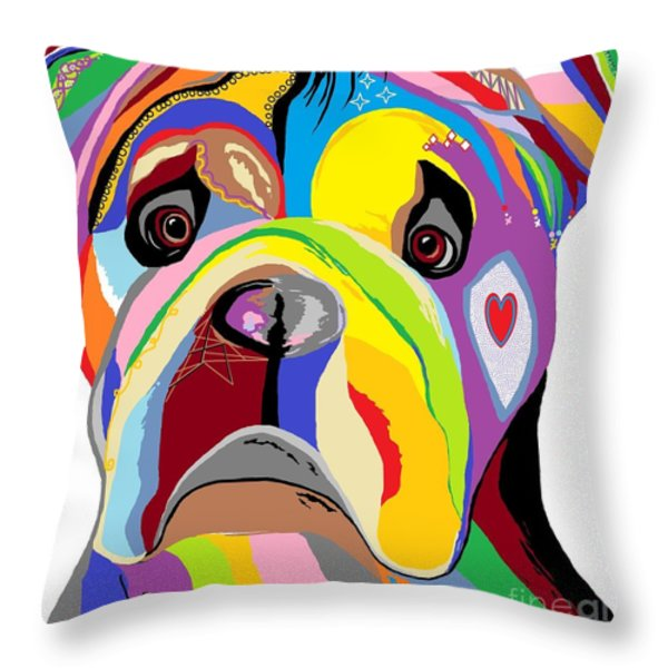 Bulldog Throw Pillow by Eloise Schneider