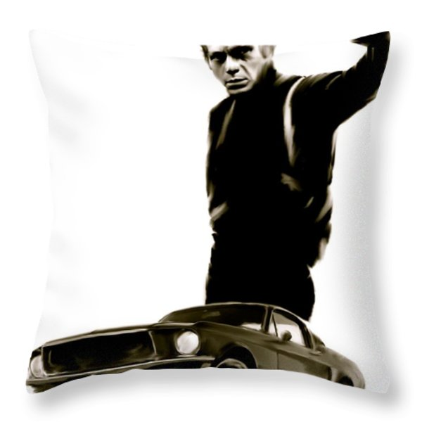 Bullet Cool  Steve McQueen Throw Pillow by Iconic Images Art Gallery David Pucciarelli