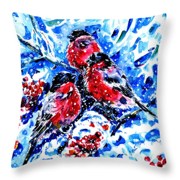 Bullfinches Throw Pillow by Zaira Dzhaubaeva