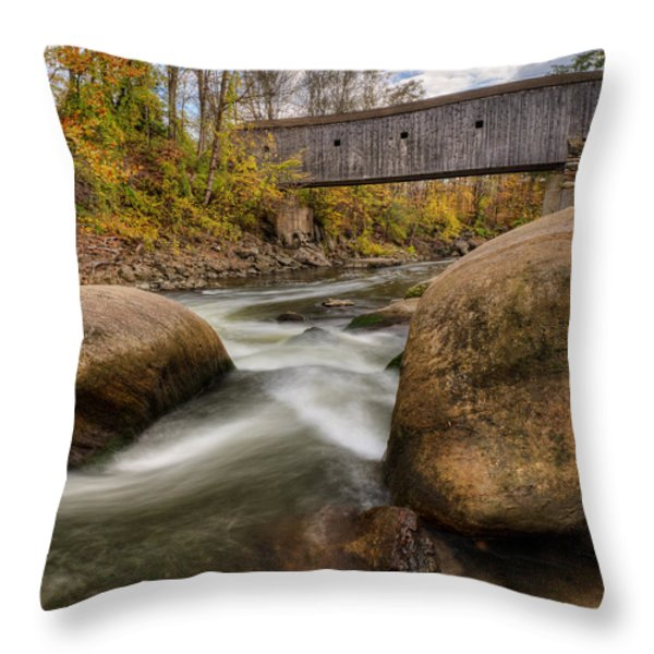 Bulls Bridge Autumn Square Throw Pillow by Bill  Wakeley