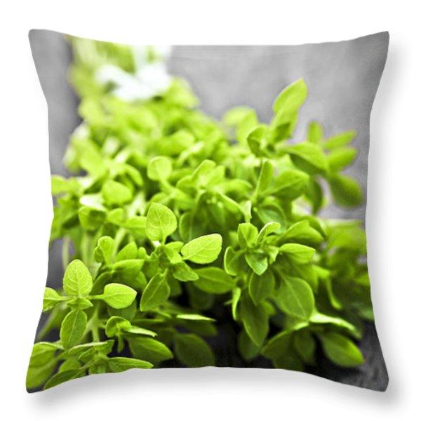 Bunch of fresh oregano Throw Pillow by Elena Elisseeva