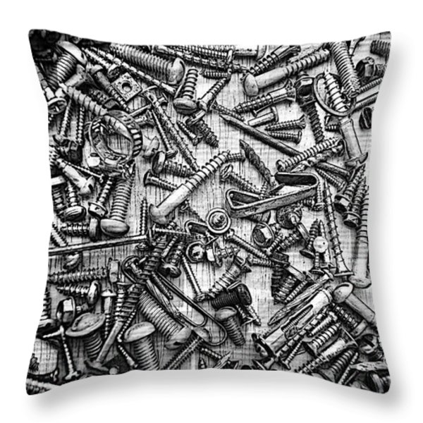 Bunch Of Screws 3- Digital Effect Throw Pillow by Debbie Portwood