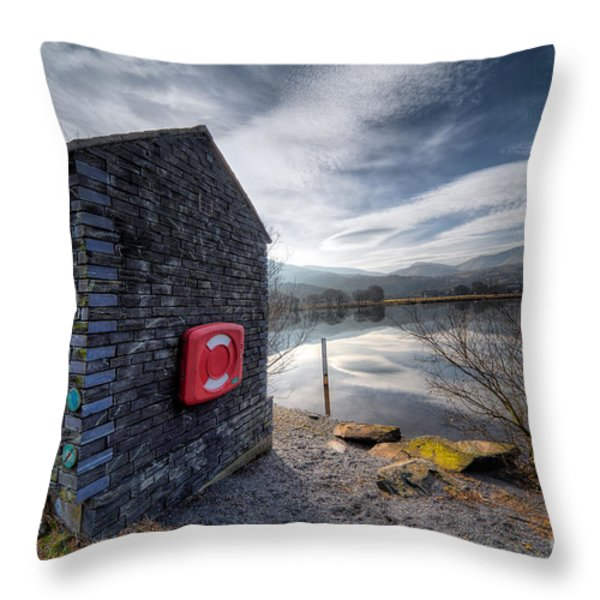 Buoy At Lake Throw Pillow by Adrian Evans