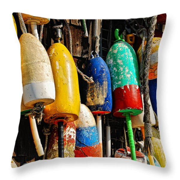 Buoys from Russell's Lobsters Throw Pillow by Lois Bryan