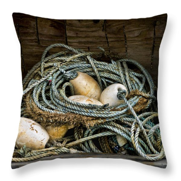 Buoys In A Box Throw Pillow by Carol Leigh