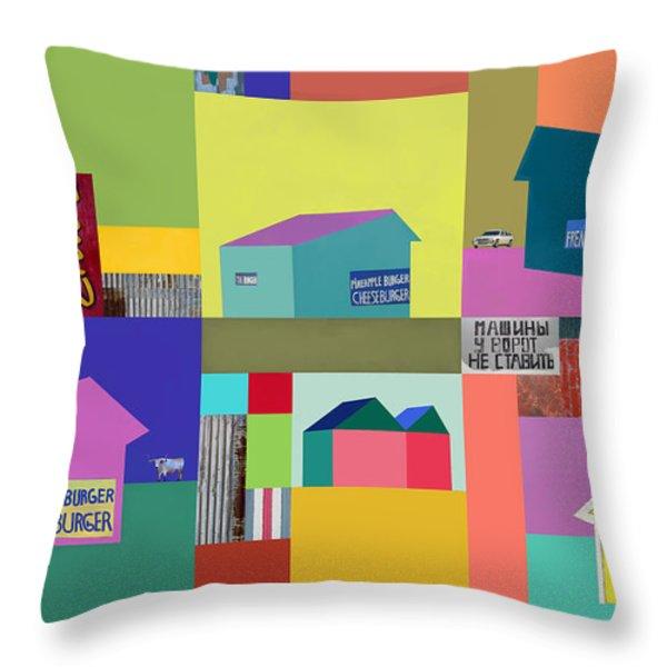 Burger Joint #1 Throw Pillow by Elena Nosyreva