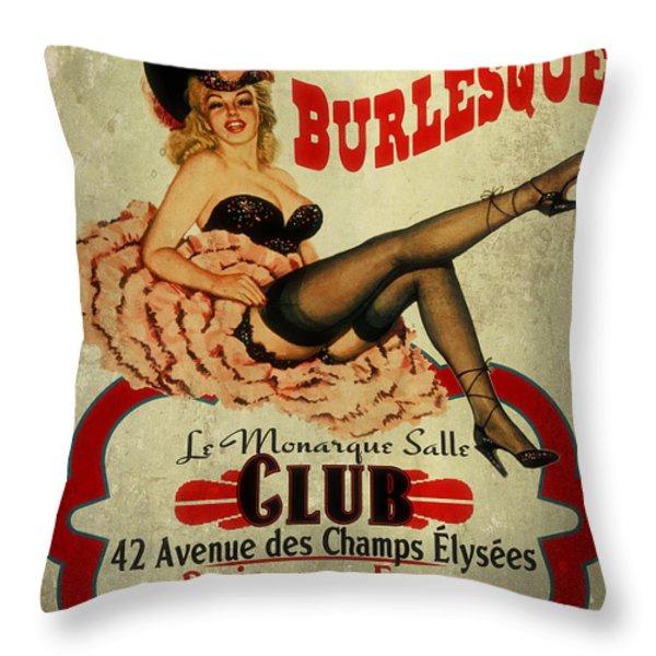 Burlesque Club Throw Pillow by Cinema Photography