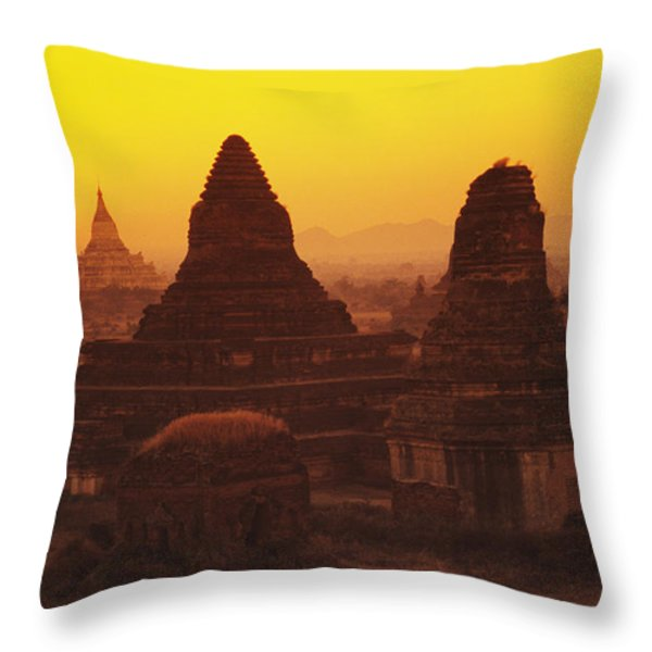 Burma Myanmar, Bagan, Temples At Sunset Throw Pillow by Richard Maschmeyer