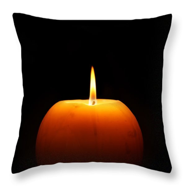 Burning Candle Throw Pillow by Johan Swanepoel