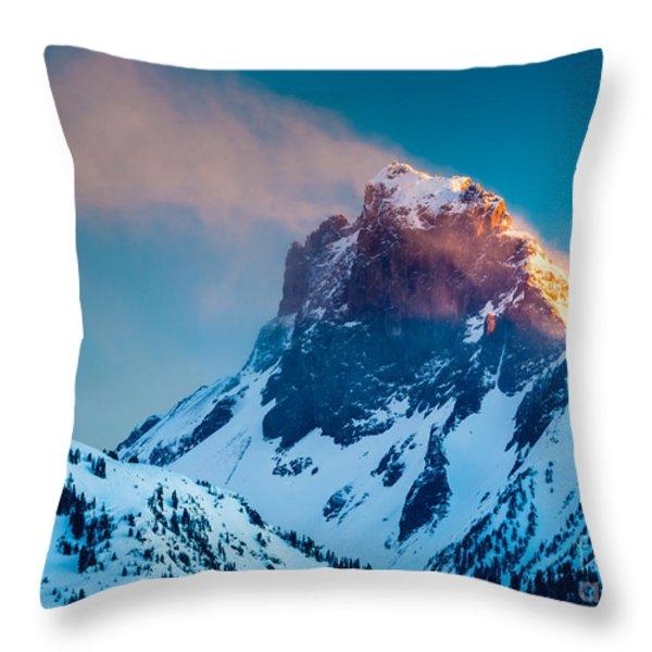 Burning Peak Throw Pillow by Inge Johnsson