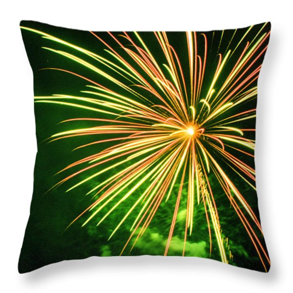 4th of July Fireworks 6 Throw Pillow by Howard Tenke