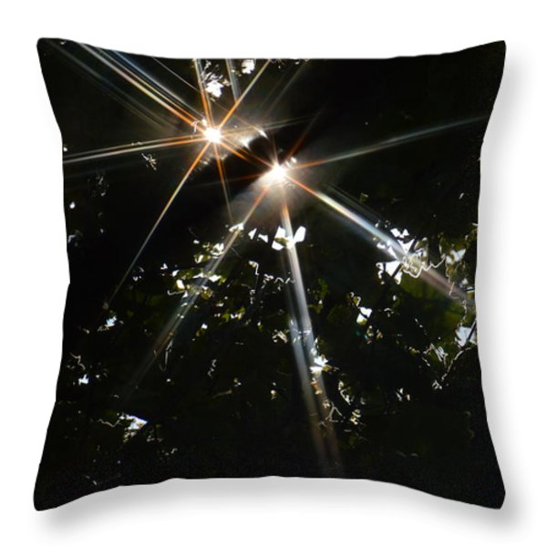 Bursting Through Trees Throw Pillow by Donna Blackhall