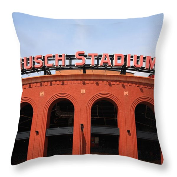 Busch Stadium - St. Louis Cardinals Throw Pillow by Frank Romeo