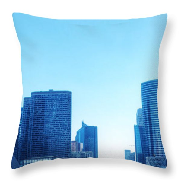 Business Skyscrapers  Paris France Throw Pillow by Michal Bednarek