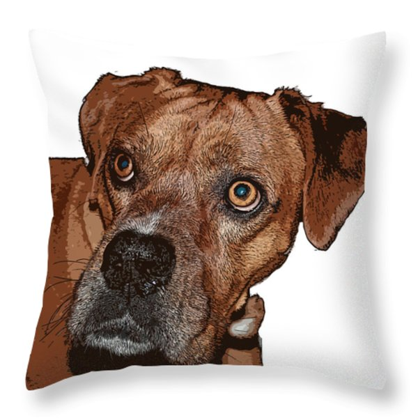 Buster Brown the Boxer Throw Pillow by Sandra Clark