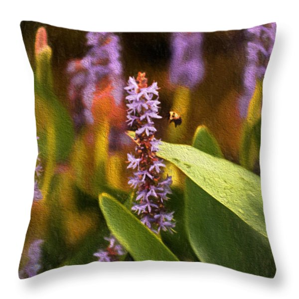 Busy Bee Throw Pillow by Richard Rizzo