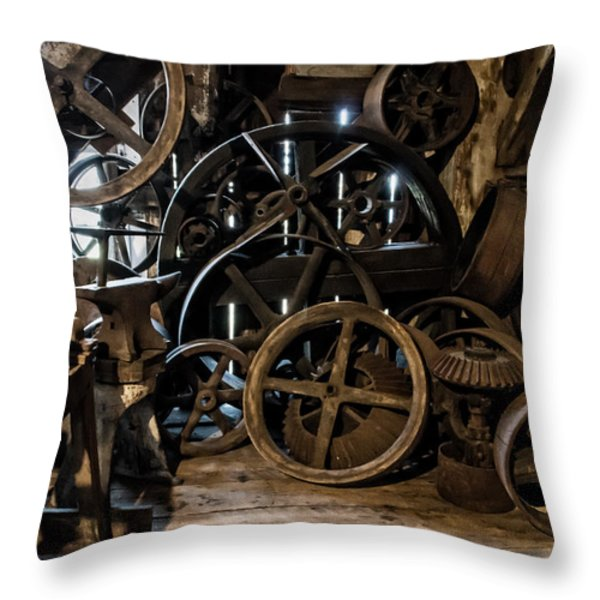 Butte Creek Mill Interior Scene Throw Pillow by Mick Anderson